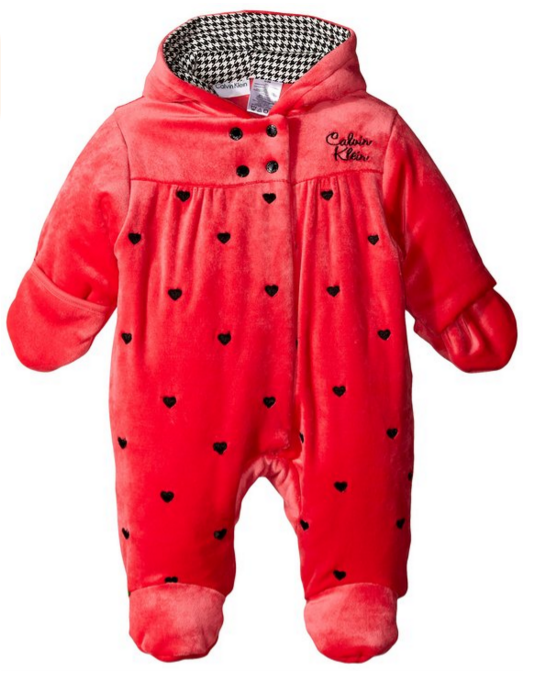 1 Calvin Klein Baby Girls  Hooded Coral Pram  Clothing