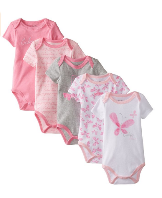 3 Calvin Klein Baby Girls  5 Packs Short Sleeve Bodysuits Pink and Gray  Baby