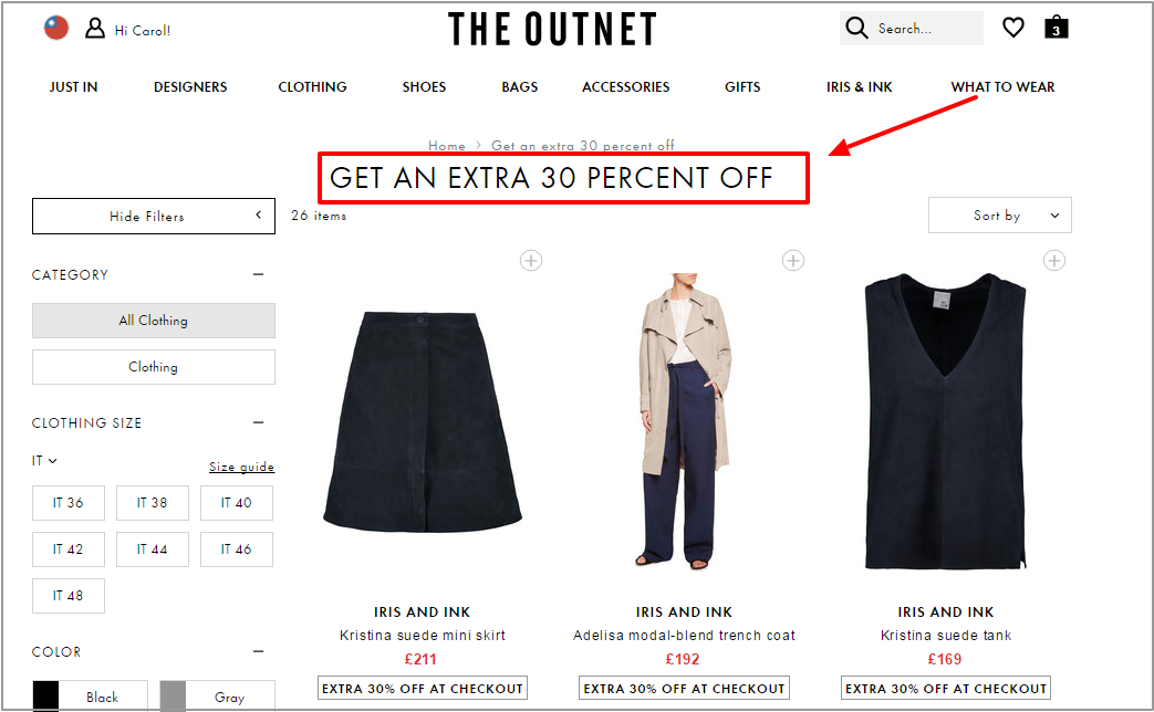 Get an extra 30 percent off   TW   THE OUTNET