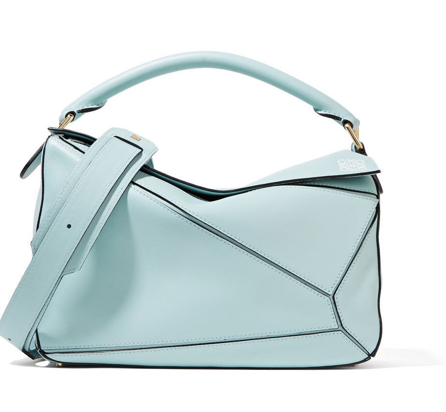 LOEWE Puzzle small leather shoulder bag mint green (1)