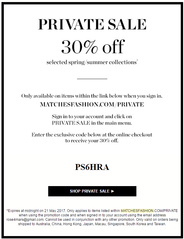 Matches Fashion offers free shipping and free returns on everything they sell - no coupon needed. Watch the banner ads on the Matches Fashion homepage to find coupon codes for a variety of discounts and be sure to check their Style Steals section for the best deals on discounted items%(50).