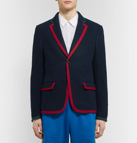 Blue Cambridge Contrast-Tipped Stretch Wool And Cotton-Blend Blazer