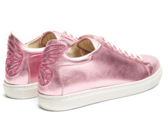 Sophia Webster Bibi low top leather trainers (Metallic-pink butterfly)