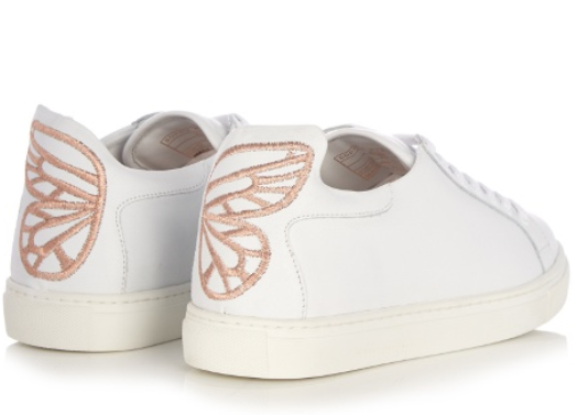 Sophia Webster rose gold butterfly Bibi low top leather trainers
