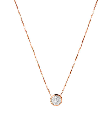 Diamond Essentials Rose Gold Pave Round Necklace Links of London