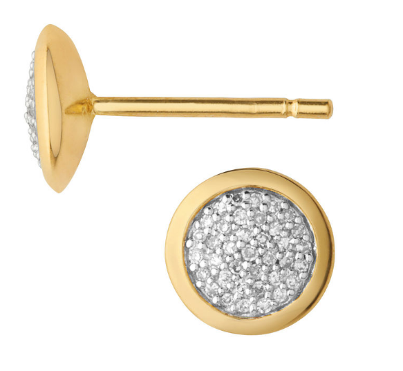 Diamond Essentials Yellow Gold Pave Round Stud Earrings Links of London