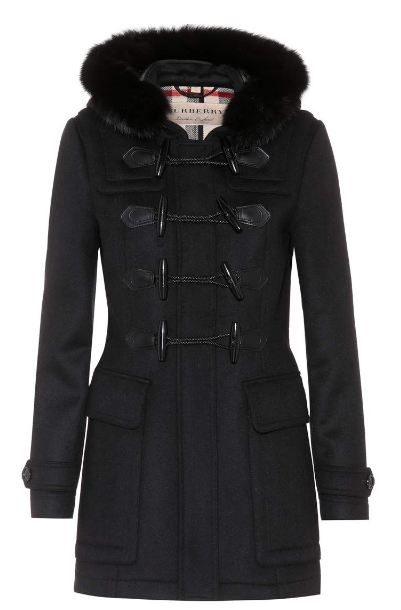 Burberry Blackwell fur trimmed wool coat